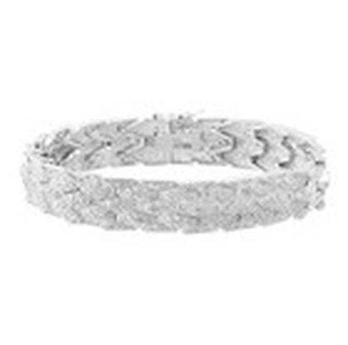 Diamond (Rnd) Bracelet (Size 7) in Silver Tone