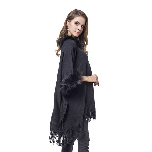 Designer Inspired - Black Colour Faux Fur Cape with Tassels (Free Size)