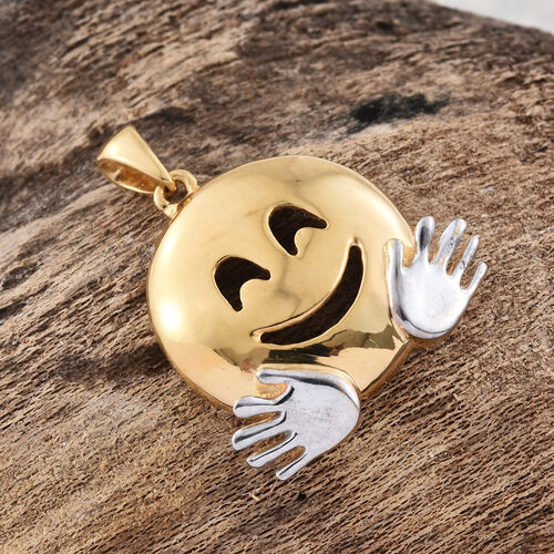 Hugging Face Smiley Silver Pendant in Platinum and Gold Overlay