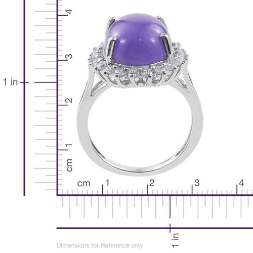 Purple Jade (Ovl 10.50 Ct), Natural Cambodian Zircon Ring in Platinum Overlay Sterling Silver 11.500 Ct.