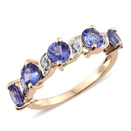 9K Yellow Gold 2.10 Ct AA Tanzanite Ring with Natural Cambodian Zircon