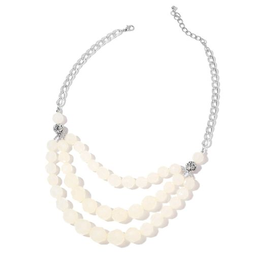 Simulated White Agate and White Austrian Crystal Triple Strand Necklace (Size 21 with 2 inch Extender) in Silver Tone