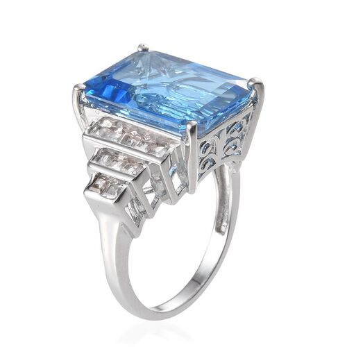 Electric Swiss Blue Topaz (Oct 19.50 Ct), White Topaz Ring in Platinum Overlay Sterling Silver 20.750 Ct.