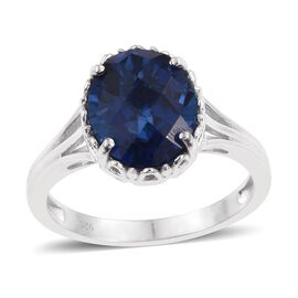 Ceylon Colour Quartz (Ovl) Solitaire Ring in Platinum Overlay Sterling Silver 5.000 Ct.