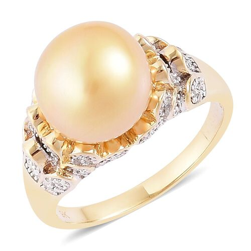 9K Y Gold Very Rare AAA South Sea Golden Pearl (Rnd 11.5-12 mm), Diamond (I3/G-H) Ring, Gold wt. 5.53 Gms