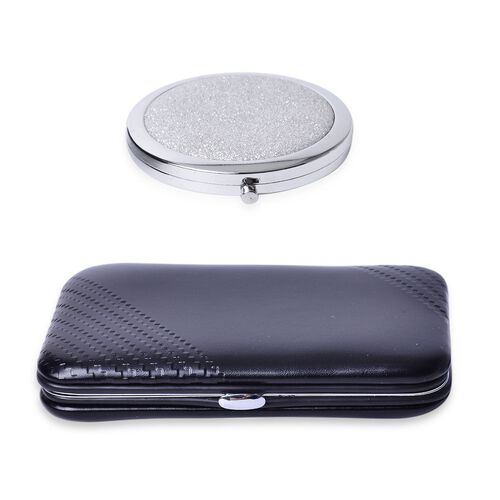 Black Colour Minicare Kit (6 Pcs) and Silver Colour Compact Mirror in Stainless Steel