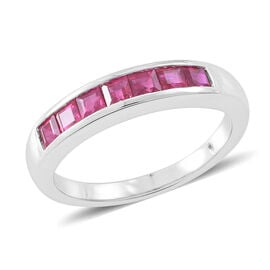 Signature Collection - RHAPSODY 950 Platinum AAAA Burmese Ruby (Princess) Half Eternity Band Ring 1.500 Ct. Platinum wt 8.10 Gram