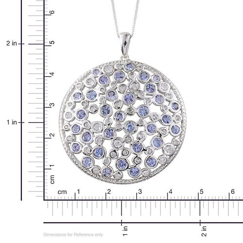 Tanzanite (Rnd), White Topaz Cluster Pendant With Chain in Platinum Overlay Sterling Silver 5.350 Ct.