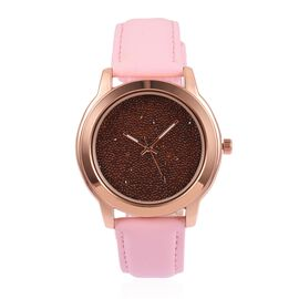 GENOA Japanese Movement Red Dial Water Resistant Watch with Red Swarovski Crystals in Rose Gold Tone with Pink Colour Strap