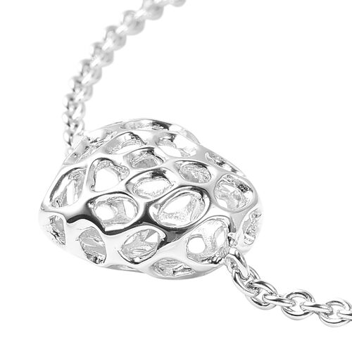 RACHEL GALLEY Rhodium Plated Sterling Silver Lattice Heart Bracelet (Size 7 - 8 Inches)