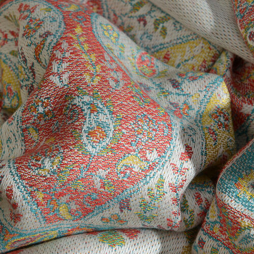 Beige and Multi Colour Floral and Paisley Pattern Jacquard Scarf with Tassels (Size 180X70 Cm)