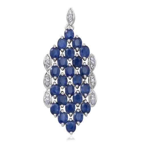 9K W Gold Kanchanaburi Blue Sapphire (Ovl), Natural Cambodian White Zircon Pendant 6.000 Ct.