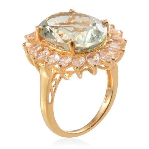 Green Amethyst (Ovl 8.50 Ct), White Topaz Ring in 14K Gold Overlay Sterling Silver 11.750 Ct.