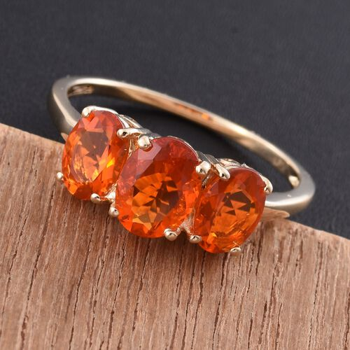 9K Y Gold AAA Jalisco Fire Opal (Ovl 0.87 Ct) 3 Stone Ring 2.000 Ct.