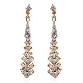 Designer Inspired- Diamond (Rnd) Dangling Earrings (with Push Back) in 14K Gold Overlay Sterling Silver 0.500 Ct.