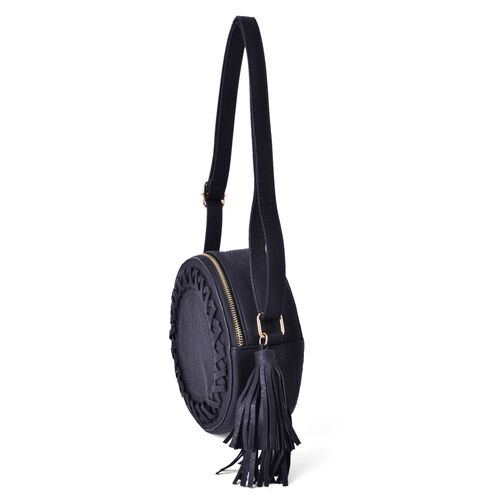 Black Colour Canteen Crossbody Bag with Long Tassels and Adjustable Shoulder Strap (Size 19x19x8 Cm)