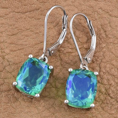 Peacock Quartz (Cush) Lever Back Earrings in Platinum Overlay Sterling Silver 3.250 Ct.