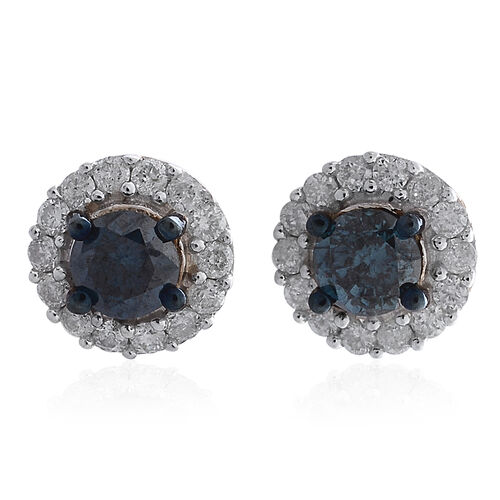 9K Yellow Gold 0.75 Carat Blue Diamond Stud Earrings (with Push Back) with White Diamond SGL Certified (I3/G-H)