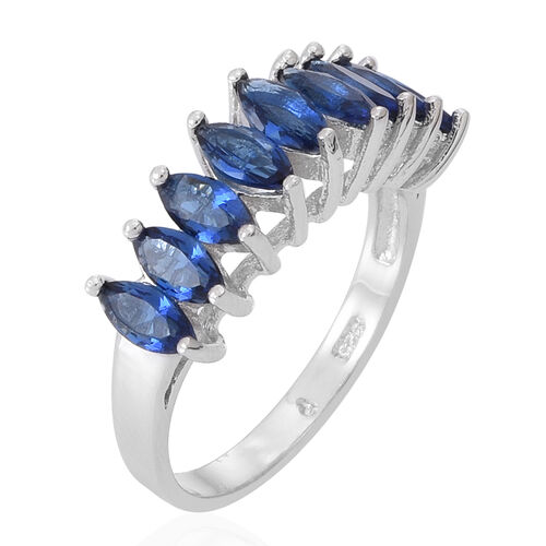 ELANZA AAA Simulated Ceylon Sapphire (Mrq) Half Eternity Ring in Rhodium Plated Sterling Silver
