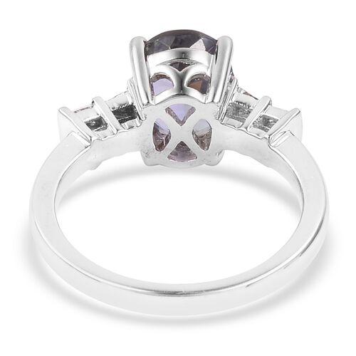 ILIANA 2.85 Ct AAA Peacock Tanzanite and Diamond (SI/G-H) Ring in 18K White Gold