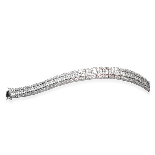 ELANZA AAA Simulated Diamond (Bgt) Bracelet in Rhodium Plated Sterling Silver (Size 7.5). Silver wt. 35.00 Gms.
