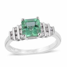 Signature Collection- 14K White Gold AA Boyaca Colombian Emerald (Oct 1.26 Ct), Diamond Ring 1.510 Ct.
