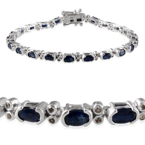 Kanchanaburi Blue Sapphire (Ovl), White Topaz Bracelet (Size 7.5) in Platinum Overlay Sterling Silver 7.500 Ct.