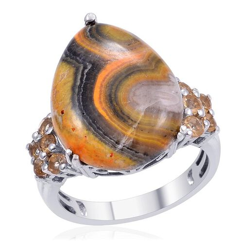 Designer Collection Bumble Bee Jasper (Pear 12.50 Ct), Citrine Ring in Platinum Overlay Sterling Silver 13.000 Ct.