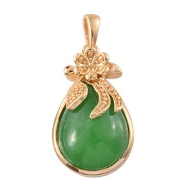 Green Jade (Pear) Solitaire Pendant in 14K Gold Overlay Sterling Silver 8.000 Ct.