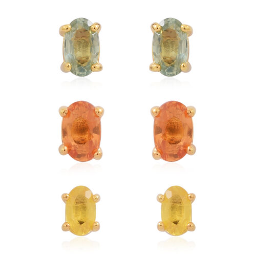 One Time Deal Set of 3 - Songea Green Sapphire (Ovl), Madagascar Orange Sapphire and Chanthaburi Yellow Sapphire Stud Earrings (with Push Back) in 14K Gold Overlay Sterling Silver 2.000 Ct.