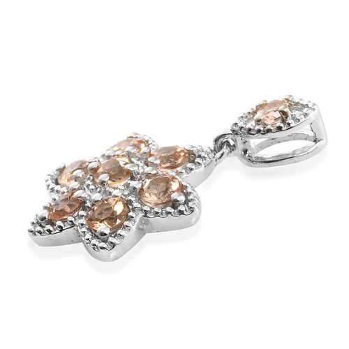 Imperial Topaz (Rnd) Floral Pendant in Platinum Overlay Sterling Silver 1.000 Ct.