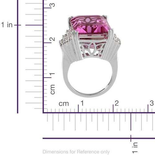 Kunzite Colour Quartz (Oct 25.00 Ct), White Topaz Ring in Platinum Overlay Sterling Silver 25.500 Ct.