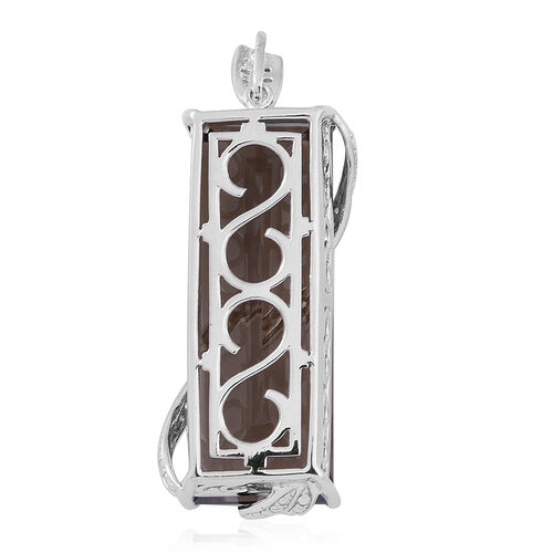 Brazilian Smoky Quartz (Bgt), White Topaz Pendant in Rhodium Plated Sterling Silver 65.000 Ct.