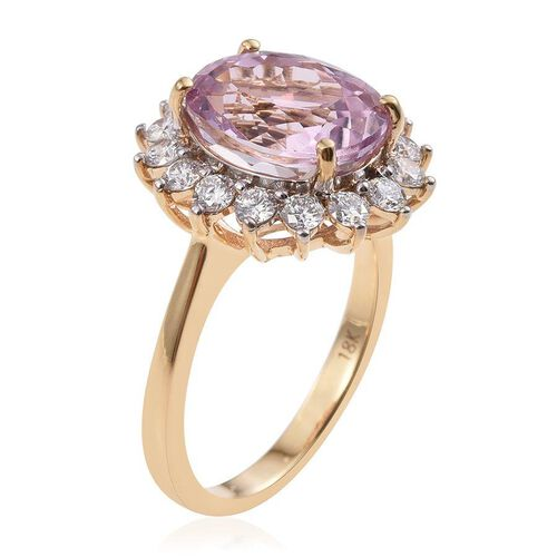 ILIANA 18K Y Gold AAAA Kunzite (Ovl 5.50 Ct), Diamond (SI/G-H) Ring 6.500 Ct.