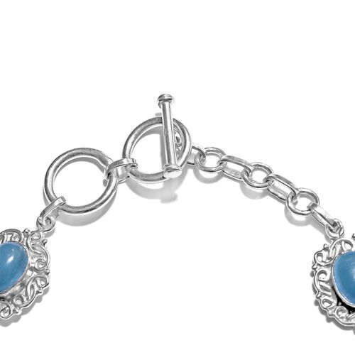 Blue Jade (Ovl) Bracelet (Size 7.5) in Rhodium Plated Sterling Silver 10.000 Ct. Silver wt. 10:30 Gms.