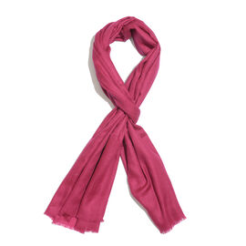 Limited Available - Super Soft- 100% Cashmere Wool Rose of Sharon Colour Shawl with Fringes (Size 200X70 Cm)