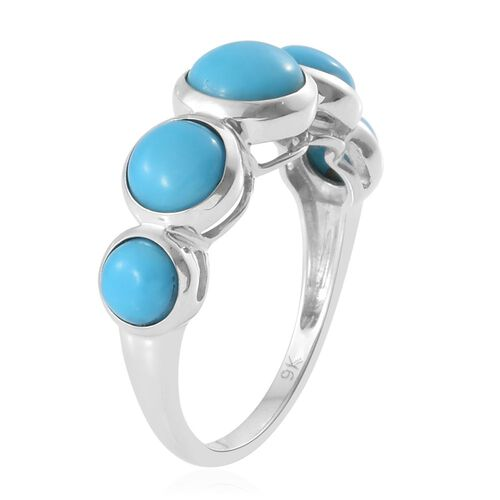 9K W Gold AAA Arizona Sleeping Beauty Turquoise (Rnd 1.05 Ct) 5 Stone Ring 3.500 Ct.