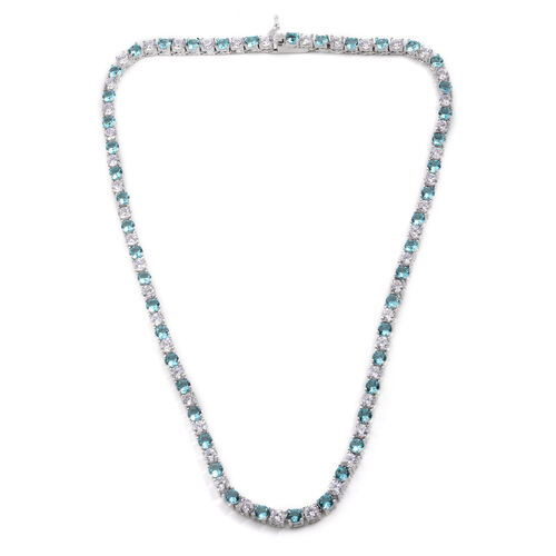 Close Out Deal Simulated Aquamarine (Rnd), Simulated White Diamond Necklace (Size 17) in Silver Bond