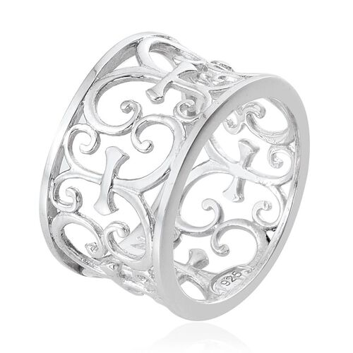 Platinum Overlay Sterling Silver Band Ring, Silver wt 4.63 Gms.