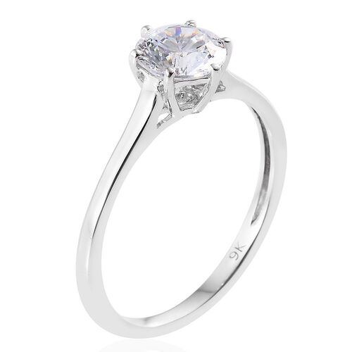 J Francis - 9K W Gold (Rnd) Solitaire Ring Made with SWAROVSKI ZIRCONIA