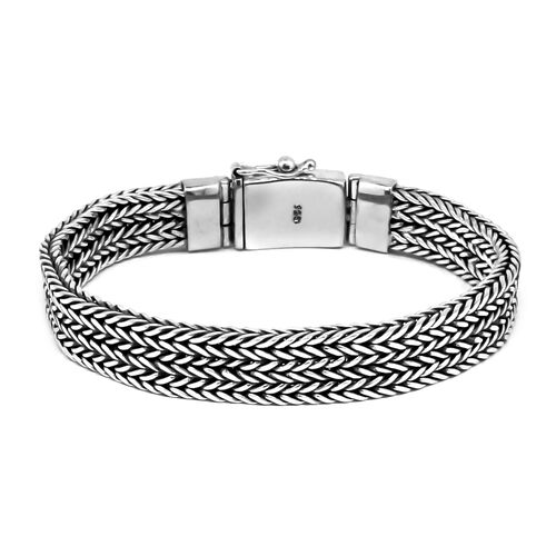 Limited Available-Royal Bali Collection Sterling Silver Multi Row Tulang Naga Bracelet (Size 8.5), Silver wt 65.07 Gms.