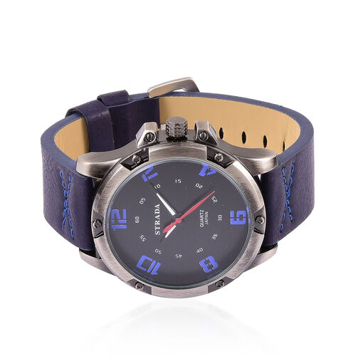STRADA Japanese Movement Black Dial Water Resistant Watch in Black Tone with Stainless Steel Back and Dark Blue Colour Strap