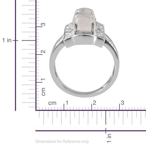 Ceylon Rainbow Moonstone (Rnd) Trilogy Ring in Platinum Overlay Sterling Silver 5.000 Ct.