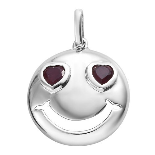 African Ruby 0.75 Ct Smiling Face with Heart-Eyes Smiley Silver Pendant in Platinum Overlay