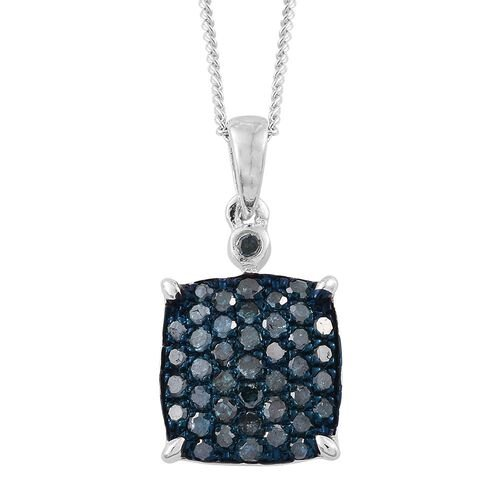 Blue Diamond (Rnd) Pendant with Chain (Size 20) in Platinum Overlay Sterling Silver 0.500 Ct.