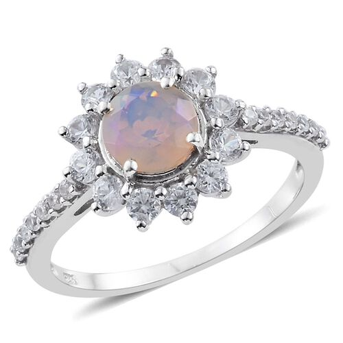 Ethiopian Welo Opal (Rnd), Natural Cambodian Zircon Flower Ring in Platinum Overlay Sterling Silver 1.080 Ct.