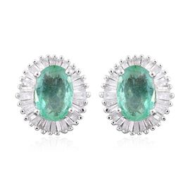 9K W Gold AA Boyaca Colombian Emerald (Ovl), Diamond Stud Earrings (with Push Back) 1.900 Ct.
