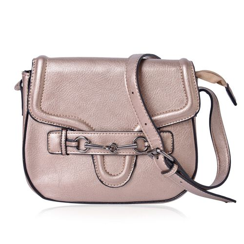 Bronze Colour Horsebit Buckle Design Crossbody Bag with Adjustable Shoulder Strap (Size 22.5X19X7.5 Cm)