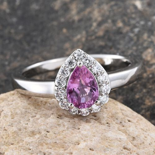 RHAPSODY 950 Platinum AAAA Pink Sapphire (Pear), Diamond (VS/E-F) Ring 1.000 Ct.