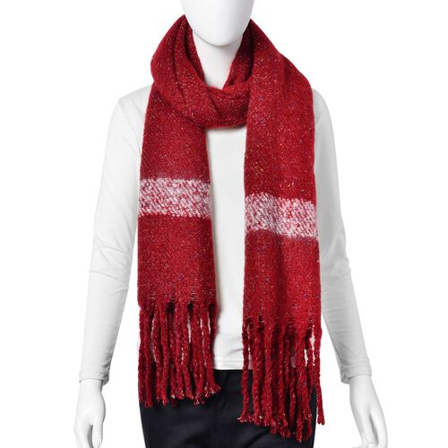 New Season-Red, White and Multi Colour Knitted Shawl with Tassels (Size 200X65 Cm)